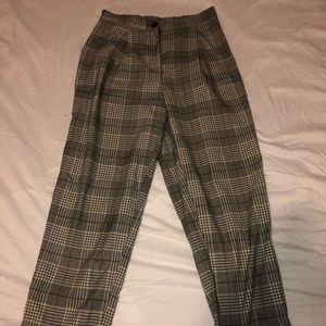 PLAID TAPERED CROPPED PANT